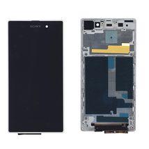 Матрица с тачскрином (модуль) для Sony Xperia Z1 C6902 черный с белой рамкой