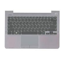 Клавиатура Samsung (NP530U3B) Black, с топ панелью (Gray), RU